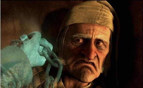 Jim Carrey som den gnavne gamle Scrooge - Photo courtesy of Walt Disney Pictures