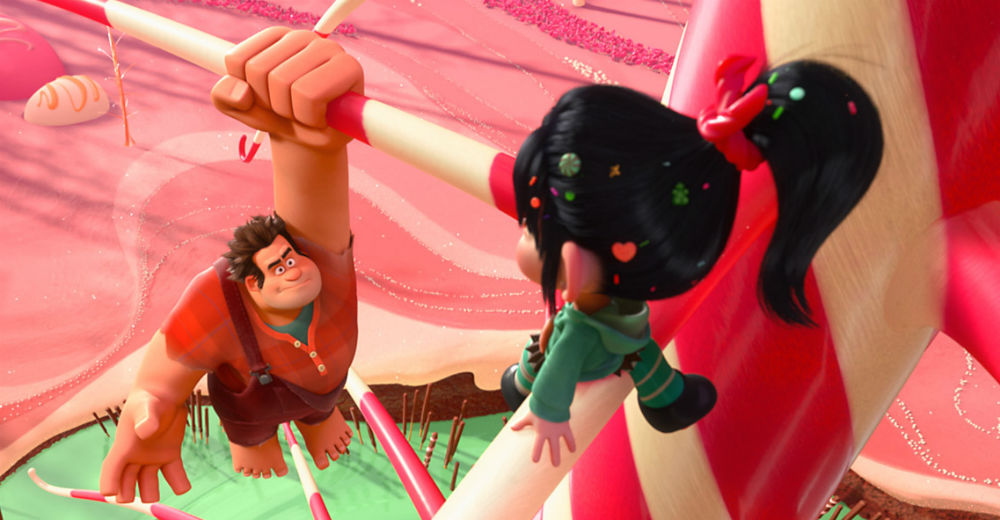 Rolf prøver at fange Vanilje, som har snuppet hans medalje. Disney gallery.