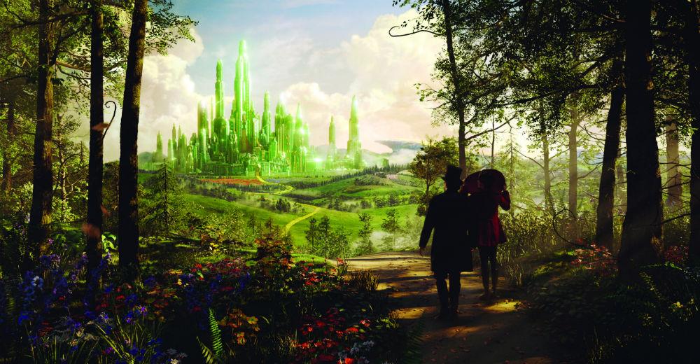 Oz og Theodora følger den gule murstensvej mod Smaragdbyen. © Walt Disney Studios Motion Pictures, Denmark
