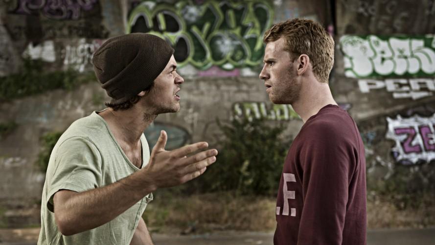 Martin (Jakob Oftebro) og Nikolajs (Cyron Melville) venskab er sat på prøve. Fotograf: Christian Geisnaes
